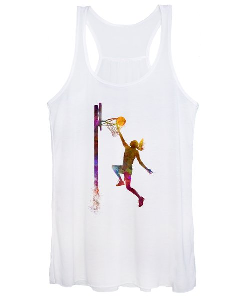 Young Woman Basketball Player 04 In Watercolor Women's Tank Top