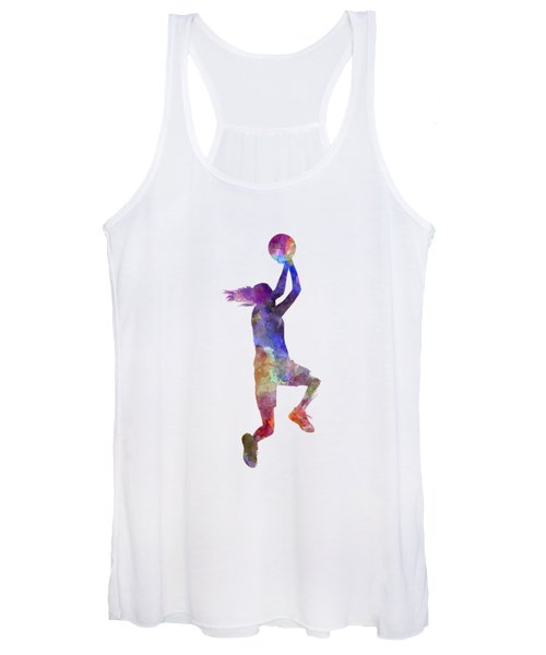 Young Woman Basketball Player 05 In Watercolor Women's Tank Top