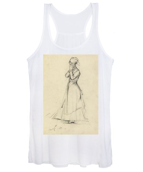 Young Woman With A Broom Women's Tank Top