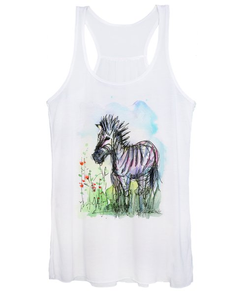 Zebra Painting Watercolor Sketch Women's Tank Top