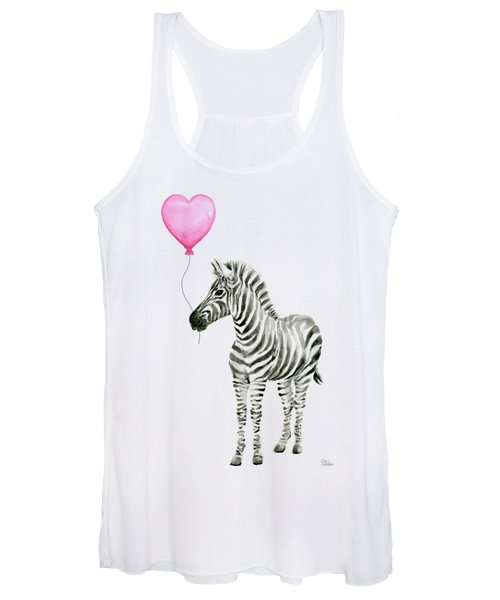 Zebra Watercolor Whimsical Animal With Balloon Women's Tank Top