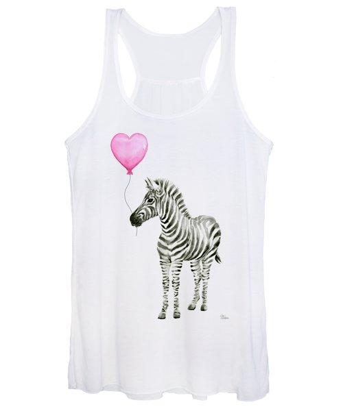 Zebra Watercolor Whimsical Animal With Balloon Women's Tank Top