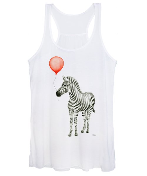 Zebra With Red Balloon Whimsical Baby Animals Women's Tank Top