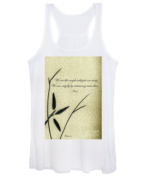 Zen Sumi 4d Antique Motivational Flower Ink On Watercolor Paper By Ricardos Women's Tank Top