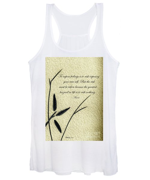 Zen Sumi 4m Antique Motivational Flower Ink On Watercolor Paper By Ricardos Women's Tank Top