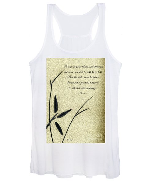 Zen Sumi 4n Antique Motivational Flower Ink On Watercolor Paper By Ricardos Women's Tank Top
