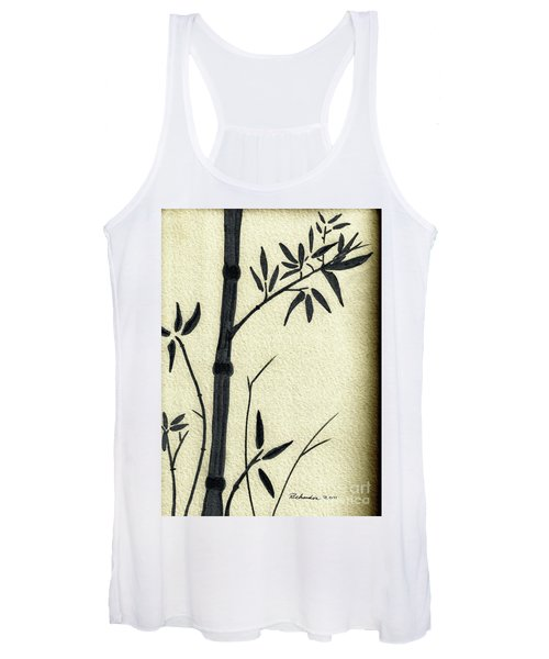 Zen Sumi Antique Bamboo 1a Black Ink On Fine Art Watercolor Paper By Ricardos Women's Tank Top