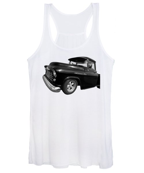 1956 Chevrolet 3100 Truck In Black And White Women's Tank Top