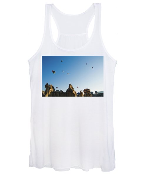 Colorful Balloons Flying Over Mountains And With Blue Sky Women's Tank Top