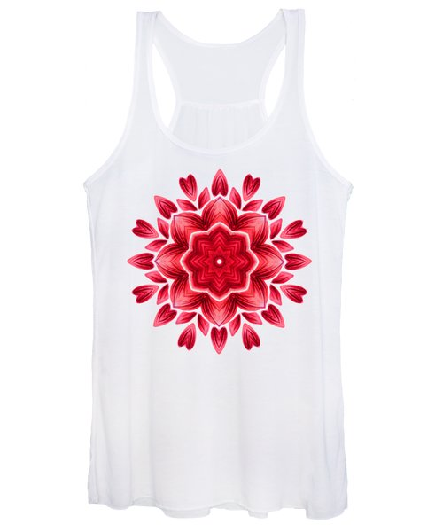 Abstract Watercolor Red Floral Mandala Women's Tank Top