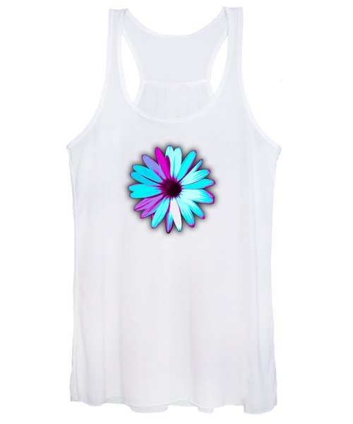 African Daisy Blue Purple And White Women's Tank Top