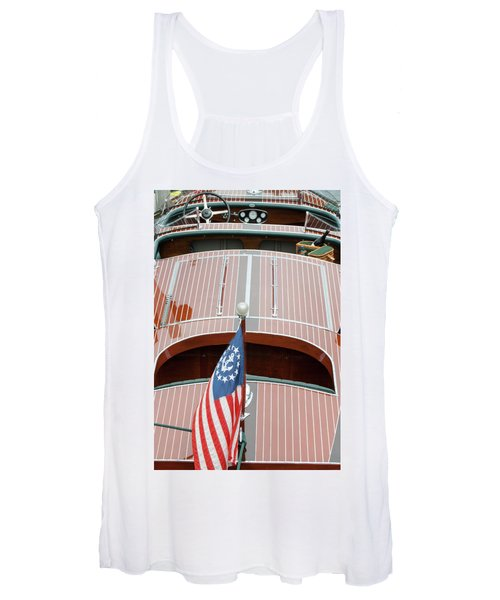 Antique Wooden Boat With Flag 1303 Women's Tank Top