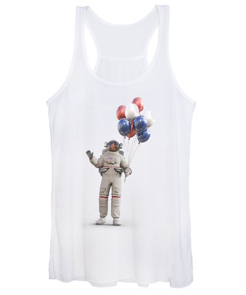Astronaut With Happy Balloons  Women's Tank Top