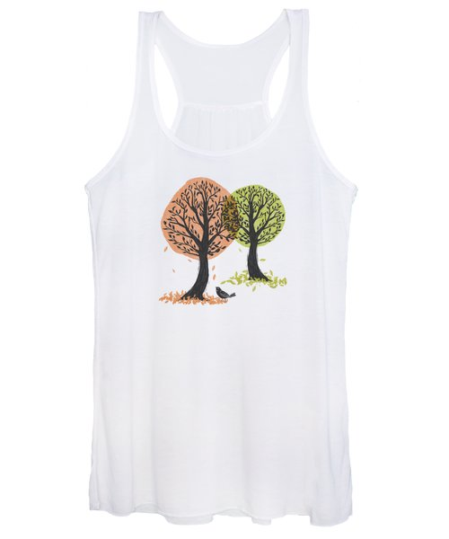 Autumn Is For The Birds Stamped Linocut Women's Tank Top