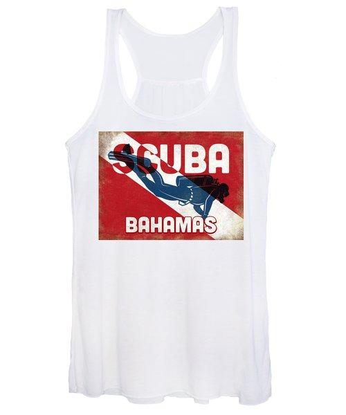 Bahamas Scuba Diver - Blue Retro Women's Tank Top