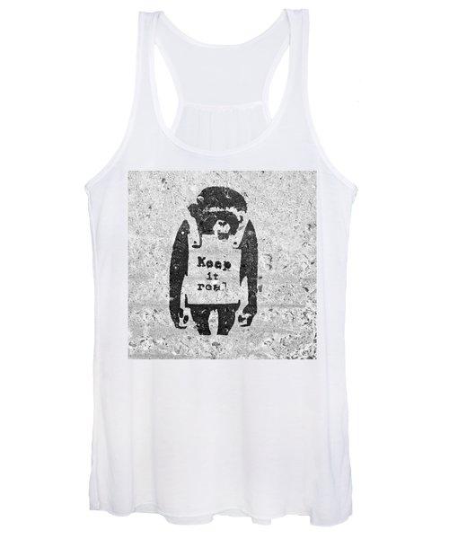 Banksy Chimp Keep It Real Women's Tank Top