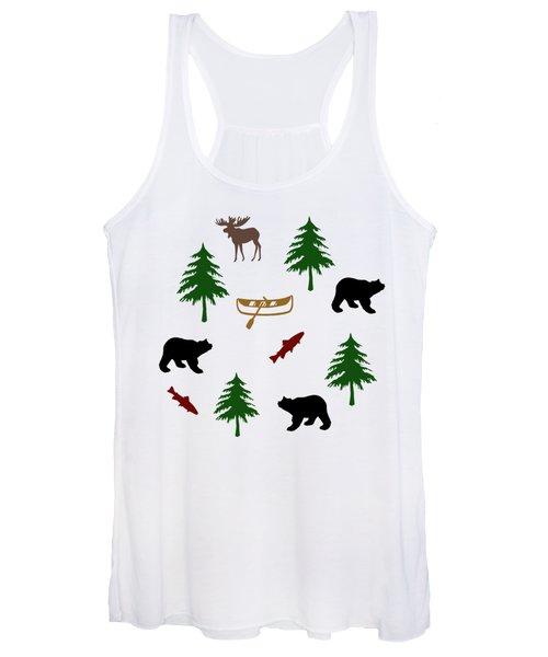 Bear Moose Pattern Women's Tank Top