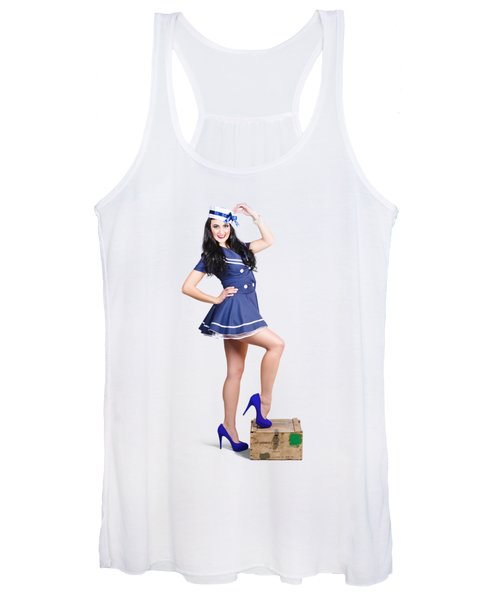 Beautiful Vintage Navy Woman. Retro Pinups Women's Tank Top