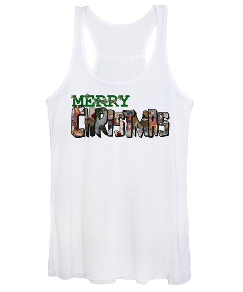 Big Letter Merry Christmas Women's Tank Top