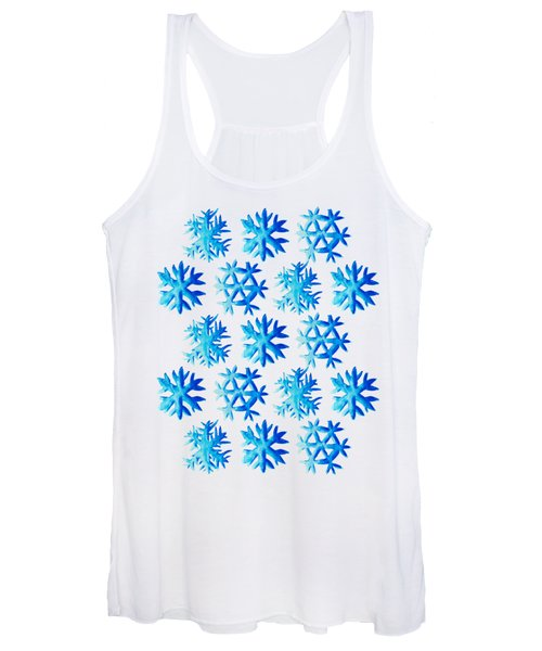 Blue Watercolor Snowflakes Pattern Women's Tank Top