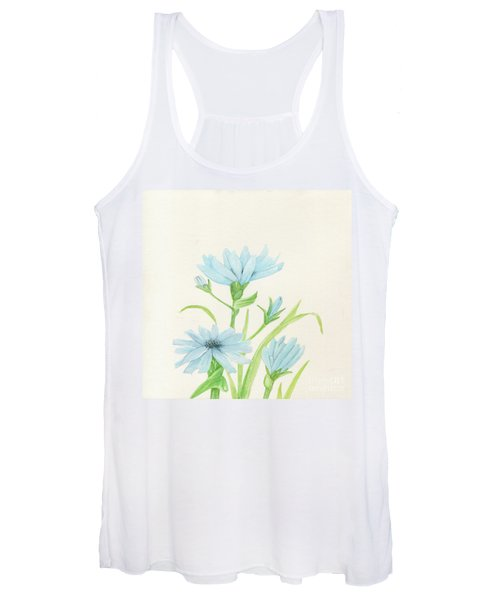 Blue Wildflowers Watercolor Women's Tank Top
