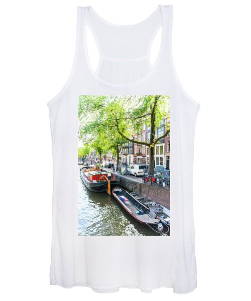 Canal Boats In Amsterdam Women's Tank Top