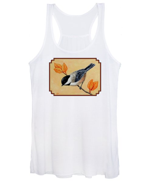 Chickadee And Autumn Leaves Women's Tank Top