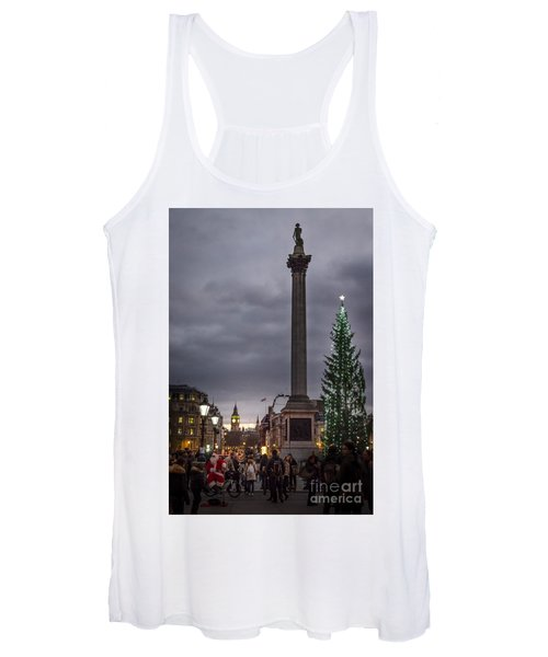 Women's Tank Top featuring the photograph Christmas In Trafalgar Square, London by Perry Rodriguez