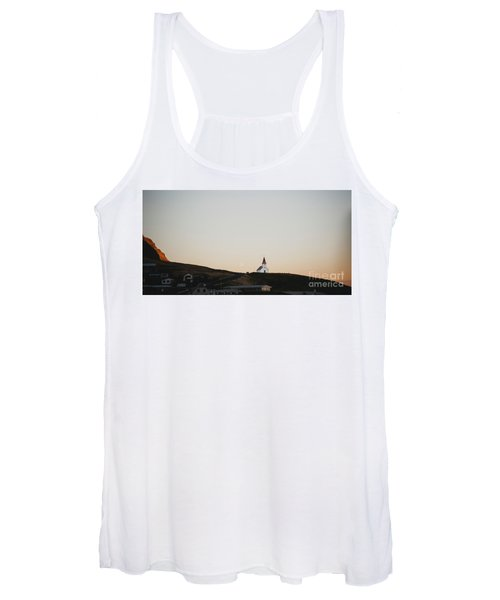 Church On Top Of A Hill And Under A Mountain, With The Moon In The Background. Women's Tank Top