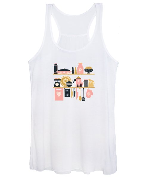 Colorful Cooking In A Mid Century Scandinavian Kitchen Women's Tank Top