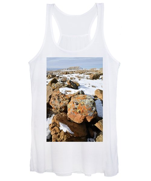 Colorful Lichen Covered Boulders In Book Cliffs Women's Tank Top