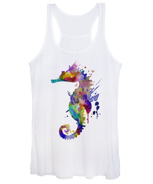 Colorful Seahorse Silhouette Women's Tank Top