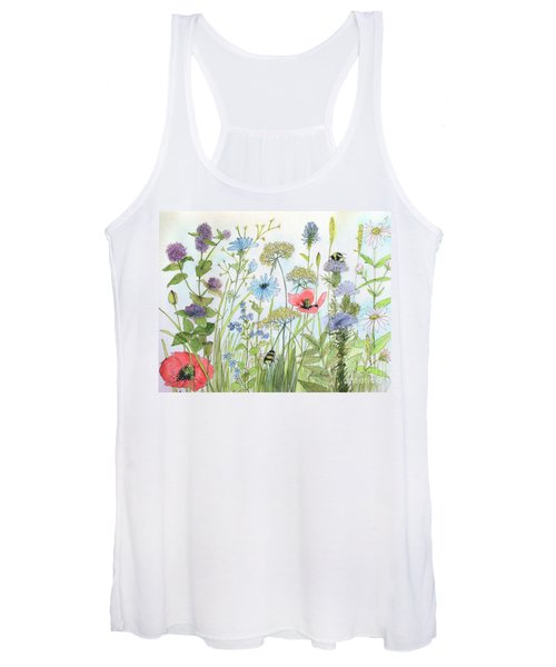 Cottage Flowers And Bees Women's Tank Top