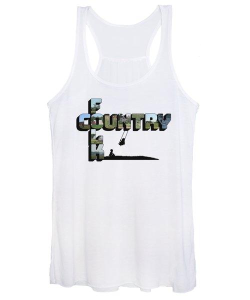Country Folk Big Letter Graphic Art Women's Tank Top