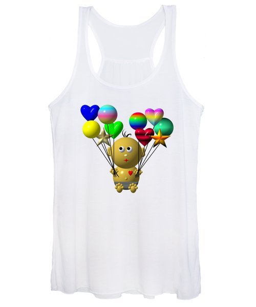Dark Skinned Bouncing Baby Boy With 10 Balloons Women's Tank Top