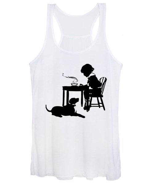 Dining With The Dog Silhouette Women's Tank Top