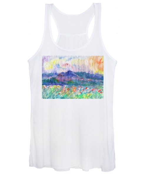 Women's Tank Top featuring the painting Flowering Meadow by Irina Dobrotsvet
