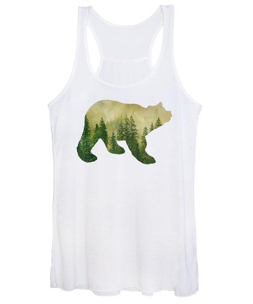 Forest Black Bear Silhouette Women's Tank Top