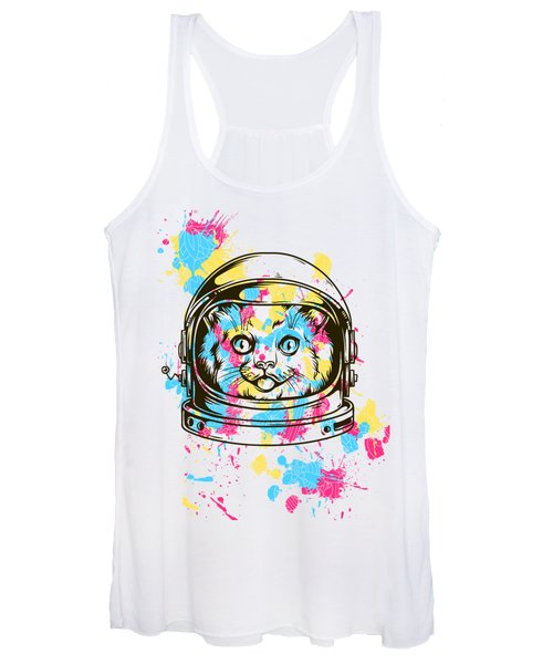 Funny Colorful Cat Astronaut Women's Tank Top