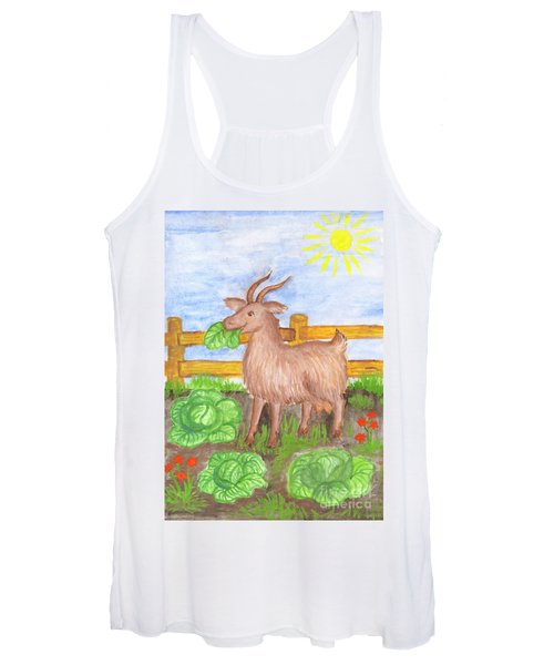 Women's Tank Top featuring the painting Funny Goat And Cabbage by Irina Dobrotsvet