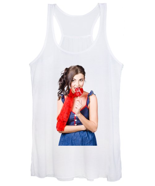 Glamorous Girl Eating Lollipop. Eat Your Heart Out Women's Tank Top