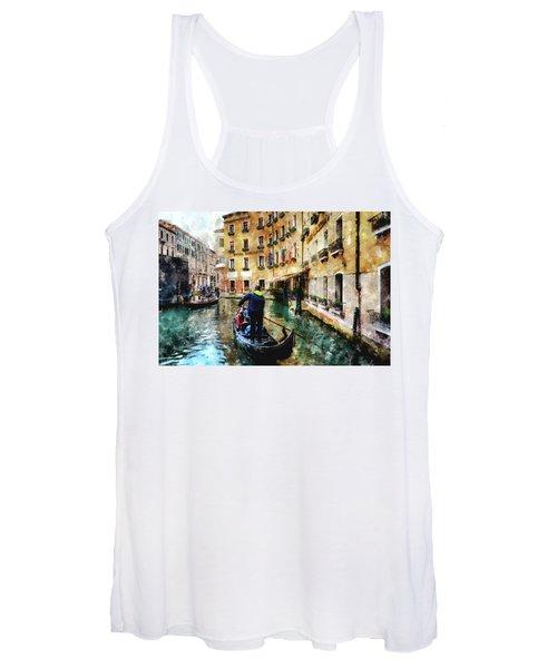 Gondola Traffic Near Piazza San Marco In Venice, Italy - Watercolor Effect Women's Tank Top