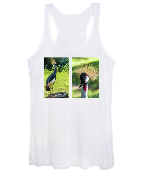Grey Crowned Crane Gulf Shores Al Collage 8 Diptych Women's Tank Top