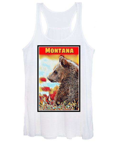 Grizzly Bear Art Montana Wildlife Travel Poster Women's Tank Top