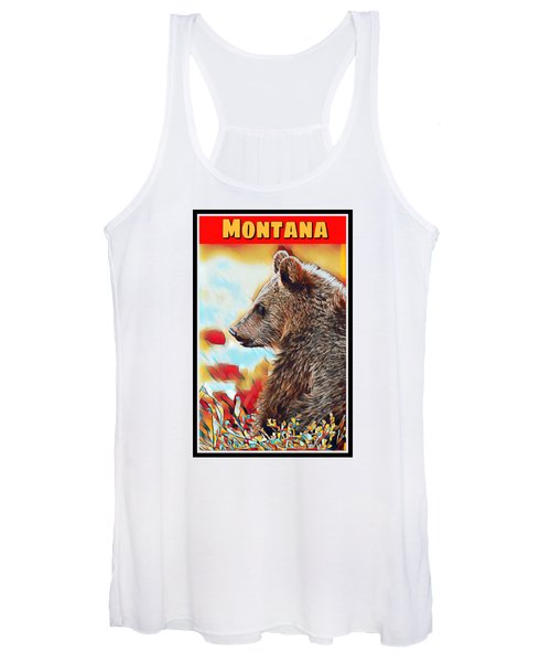 Grizzly Bear Art Montana Wildlife Travel Poster Women's Tank Top