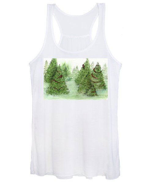 Holiday Trees Woodland Landscape Illustration Women's Tank Top