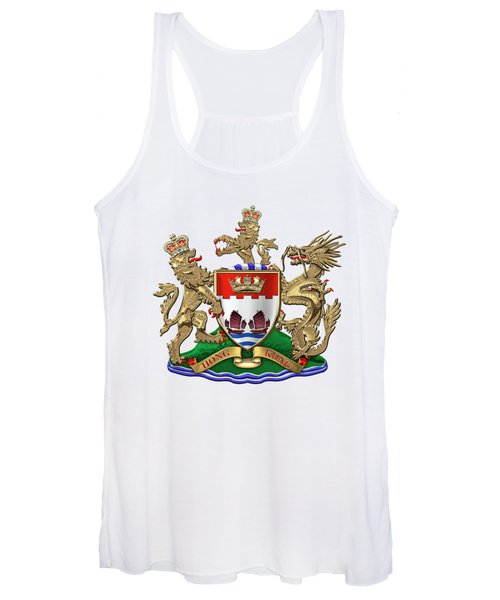 Hong Kong - 1959-1997 Coat Of Arms Over White Leather  Women's Tank Top