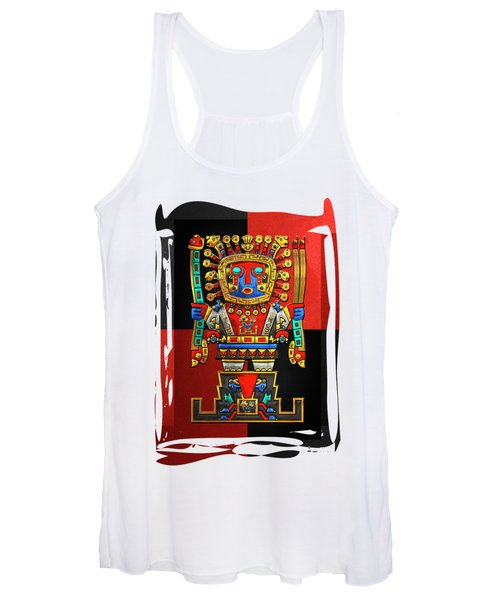 Incan Gods - The Great Creator Viracocha On Red And Black Canvas Women's Tank Top