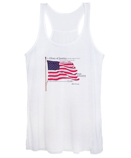 Law And Society American Flag With Robert Kennedy Quote Women's Tank Top