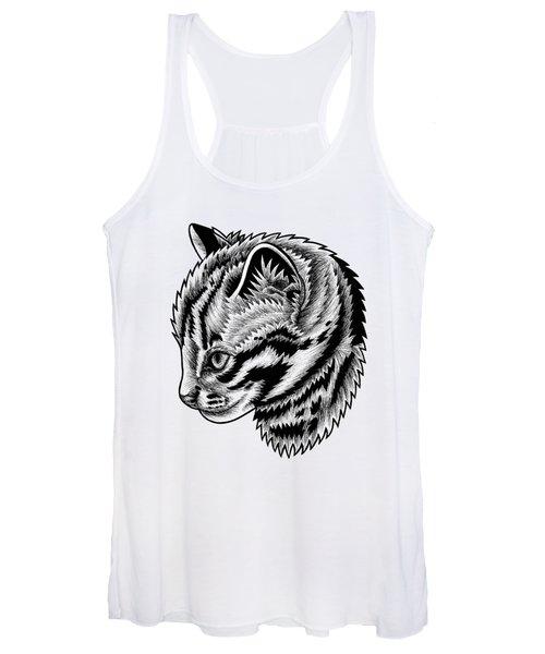 Leopard Cat Kitten - Ink Illustration Women's Tank Top